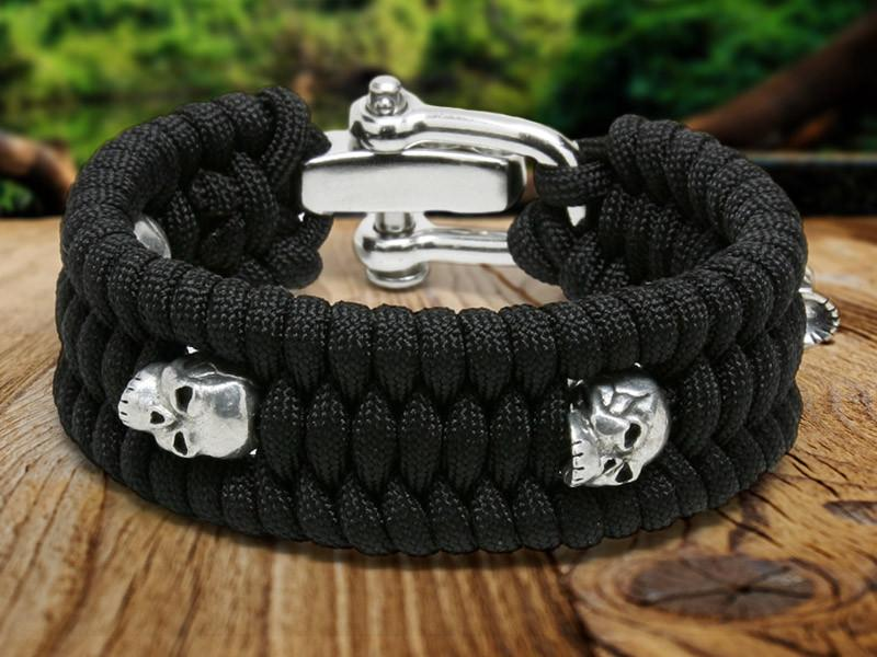 Wide Skull Bead Bracelet - Fish Tail