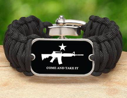 Wide Survival Bracelet - Come and Take It (White)