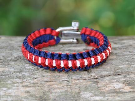 Light Duty Survival Bracelet - Red, White & Blue