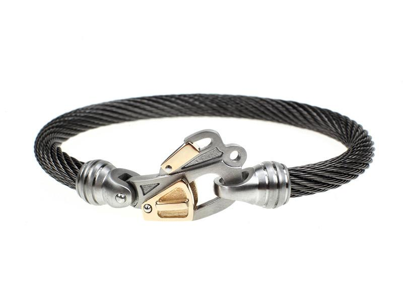 Black Diamond 14K Gold & Stainless Helo Rescue Bracelet