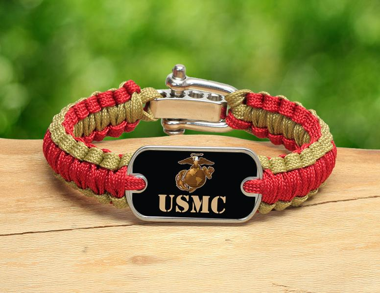 Light Duty Survival Bracelet™ - Gold USMC Logo