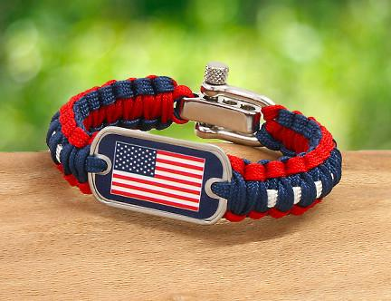 Light Duty Survival Bracelet - American Flag Tag