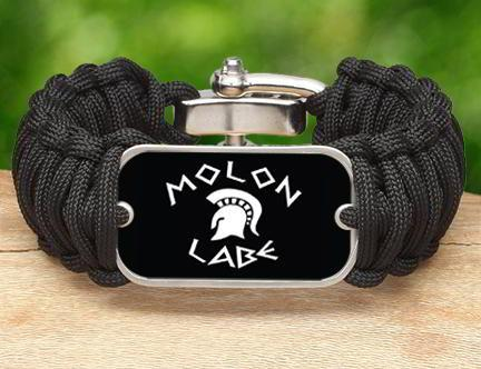 Wide Survival Bracelet - Molon Labe (White)