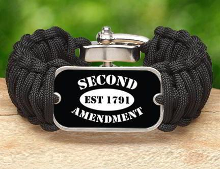 Wide Survival Bracelet - 2nd Amendment Est. (White)