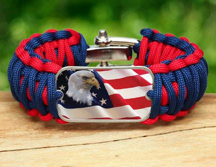 Wide Survival Bracelet - America Strong Eagle1 Logo