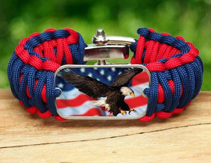 Wide Survival Bracelet - America Strong Eagle3 Logo