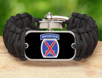 WIDE Survival Bracelet™-U.S. Army™ 10th Mountain Black